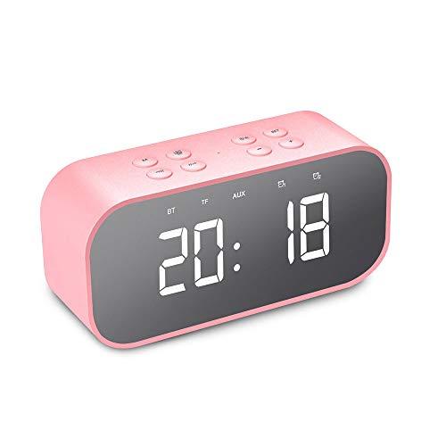 NOMENI Portable Digital Alarm Clock, Bluetooth 5.0 Stereo Speaker, LED Mirror AUX TF Music Player,Cute Mini Alarm Clock for Desktop Table - Desks 30h