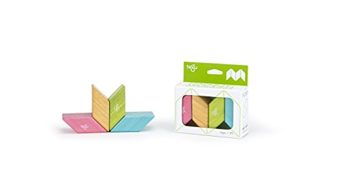 Prl Block - 4 piece Tegu Magnetic Wooden Block Parallelograms Set - Tints