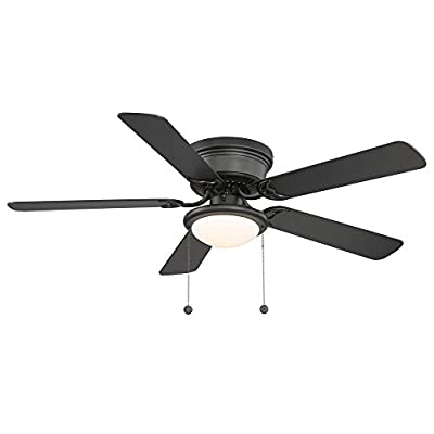 Hampton Bay Hugger 52 in. Black Ceiling Fan With Light