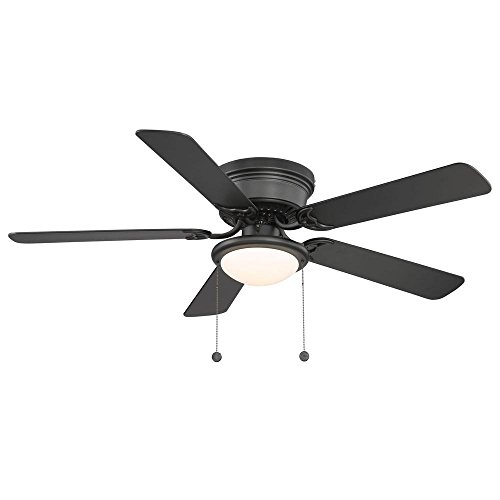(Hampton Bay Hugger 52 in. Black Ceiling Fan - Black - Reversable Blades)