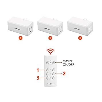 Link2Home Wireless Remote Control Outlet Light Switch, 100 ft range, Unlimited Connections. Compact Side Plug. Switch ON OFF Household Appliances. FCC CSA Certified, White 3 Outlets, 1 Remote .