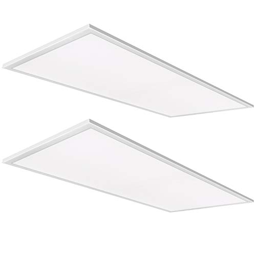 (Hykolity 2x4 FT White LED Flat Panel Troffer Light, 46W 5000K Recessed Edge-Lit Drop Ceiling Light, 5750lm Lay In Fixture For Office, 0-10V Dimmable, 3 Lamp 128W Equivalent, DLC Complied, 2 Pack )