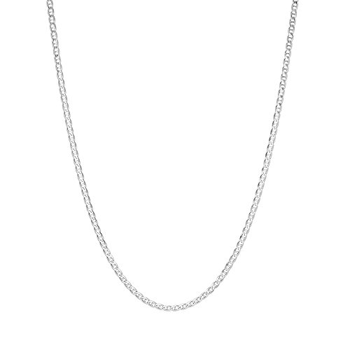 - 1.5mm .925 Sterling Silver Flat Mariner Link Anchor Chain Necklace, Sizes 16 Inch- 24 Inch (18