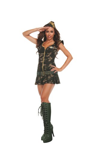 Starline Women's Dreamy Drill Sergeant 3 Piece Costume Dress Set, Green, (Drill Sergeant Costumes)