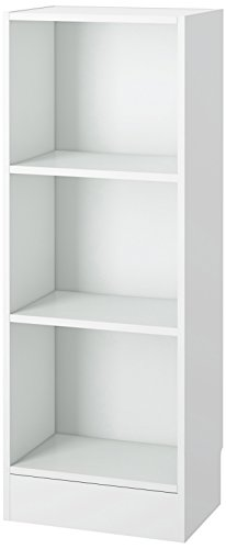 Tvilum 7177449 Element Narrow 3 Shelf Bookcase, Short, White - Narrow 3 Shelf Bookcase