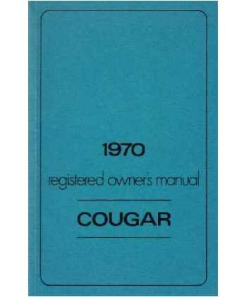 1970 MERCURY COUGAR Owners Manual User ()