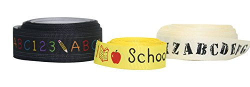 (Back to School Ribbon Set of 3 Variety Pack - Alphabet Print Grosgrain - ABC & 123 - School Days - 3 Rolls )