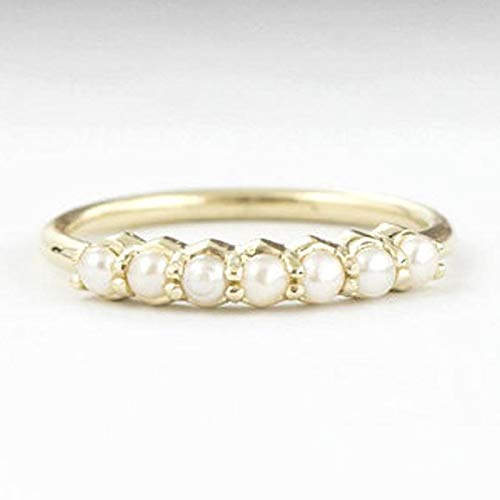 (UltraSunday Chic 14K Yellow Gold Filled with White Pearl Bridal Wedding Proposal Ring (8))