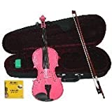 GRACE 1/4 Size Pink Acoustic Violin with Case and Bow+Rosin+Extra Set of Strings