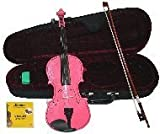 Merano 1/2 Size Pink Acoustic Violin with Case and Bow+rosin+extra Set of Strings