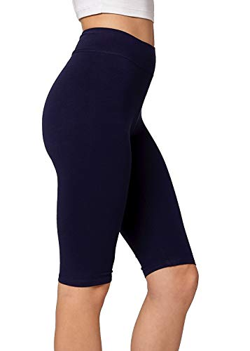 Premium Ultra Soft Stretch High Waisted Cotton Leggings for Women with Yoga Waistband - Knee Shorts Navy Blue - Medium (Leggings Stretch Cropped)