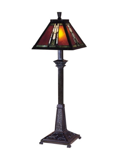 Bronze 60w Buffet Lamp - Dale Tiffany TB100715 Amber Monarch Buffet Lamp, Mica Bronze and Art Glass/Mica Shade