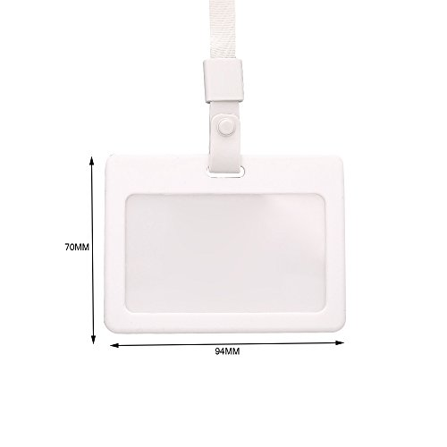 Zhi Jin Silicone Horizontal ID Badge Holder with Lanyard Credit Card Sleeves Protectors Organizer Neck Strap Office School Pack of 3 White by Zhi Jin (Image #1)