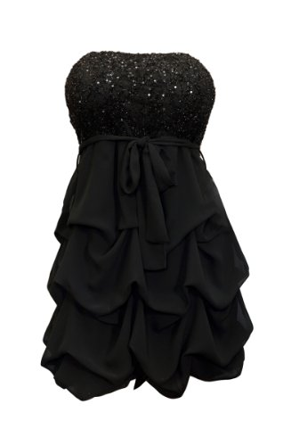 eVogues Plus Size Sequin Bodice Bubble Dress Black - 1X -