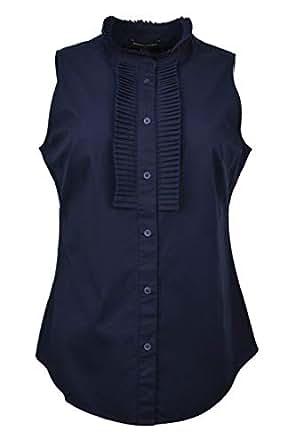Banana Republic Womens Navy Blue Sleeveless Tailored Pleat