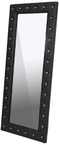 (Baxton Studio Stella Crystal Tufted Modern Floor Mirror, Black )