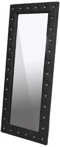 Baxton Studio Stella Crystal Tufted Modern Floor Mirror, Black Leather Floor Mirror
