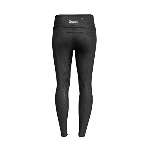 Horseback Riding Tights- High Waisted Ladies Riding Tights w/ Knee Patches & Slimming Side Panel - Stretchable Black Riding Tights, English Riding Tights for Women, Schooling Tights for Equestrians (Knee Riding Tights Patch)