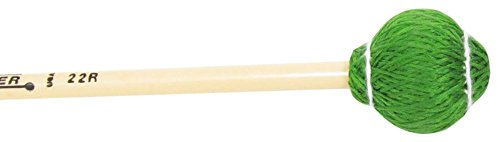 Mike Balter 22R Pro Vibe Series Medium Vibraphone Mallets with Rattan Handles, Hard Green