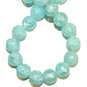 Steven_store G1223 Blue 10mm Round Nugget Frosted Matte Crackle Glass Beads 16