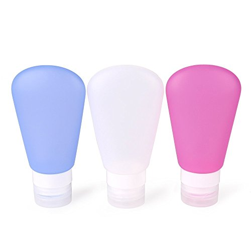 (MsFeng Travel Bottles Food Grade Silicone Containers Set - Pink/Blue/White 2oz , Set of 3 - Refillable Shampoo Containers - Perfect Travel Toiletry Bottles Accessory Tubes - Approved for Flying)