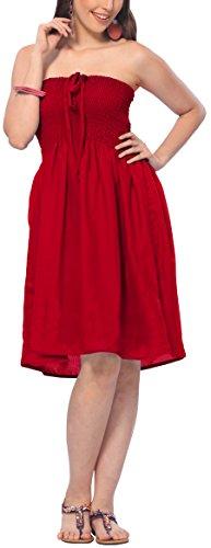 Bordado t379 un más Rojo Viscosa Halter de LA Tubo Corto LEELA tamaño Vestido Encubrimiento fpOxvq