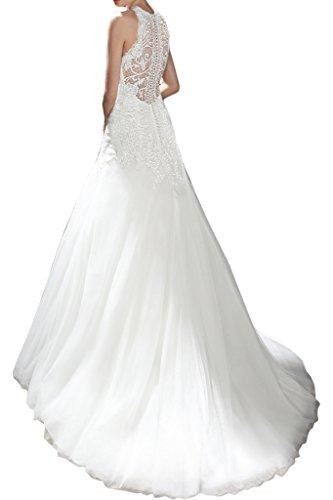 ivyd ressing Mujer de gran calidad Punta & tuell croma a de línea boda Noche de ropa ropa vestido de novia Weiß