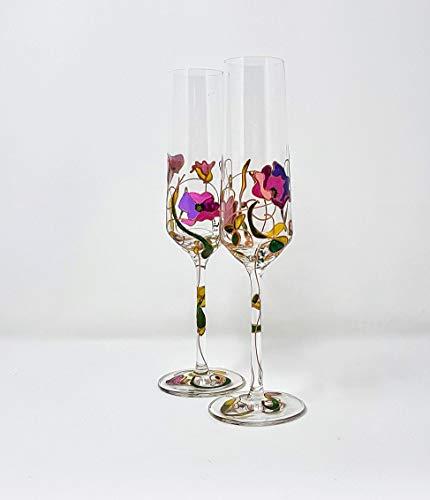 Copas de Champagne de cristal pintado a mano. Un regalo original Amapolas malva: Amazon.es: Handmade