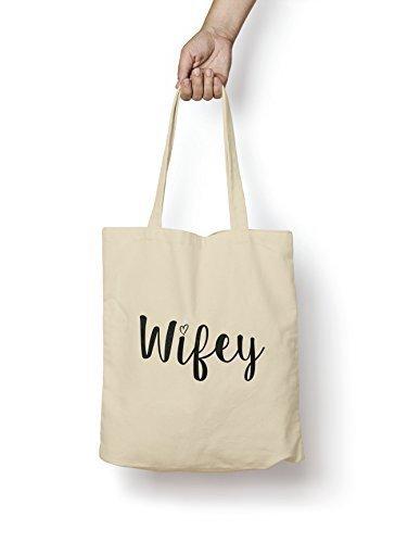 Wifey Tragetasche zum Einkaufen aus natürlicher Baumwolle, Geschenkidee zur Verlobung, Hochzeit, für Ehefrau, Jahrestag