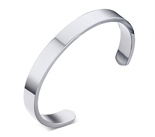Mealguet Jewelry 8mm Width Stainless Steel Plain Polished Finish Cuff Bangle Bracelets for Men Women,