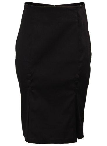 Rockabilly Pencil (Vintage Retro Pinup 1950s Kick Pleat Rockabilly High Waisted Pencil Women's Skirt - Medium)