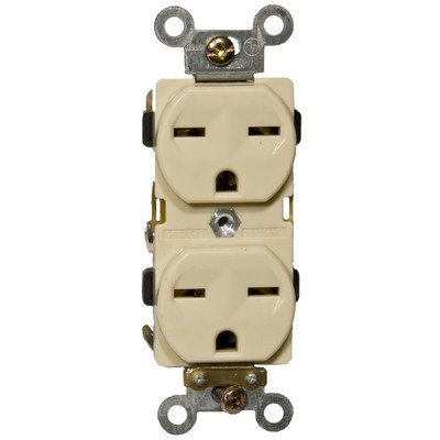 Morris Products Industrial Grade Duplex Receptacle - Ivory, 15 Amp, 250 Volt - Shallow Design, 2 Pole, 3 Wire - GE Lexan, Steel Mounting Strap - UL Listed