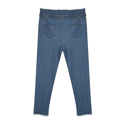 Alta donne Donna Blu Bow Pantaloni Vita Nuovo jeans Lqqstore Alla Ufficio Ad Signora Denim Stretch Design Cintura Caviglia Moda Sciolto Jeans qE0wxxA5