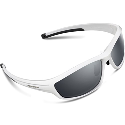 Torege Polarized Sports Sunglasses For Man Women Cycling Running Fishing Golf TR90 Unbreakable Frame TR034 (White&Black tips&gray (Black And White Glasses)