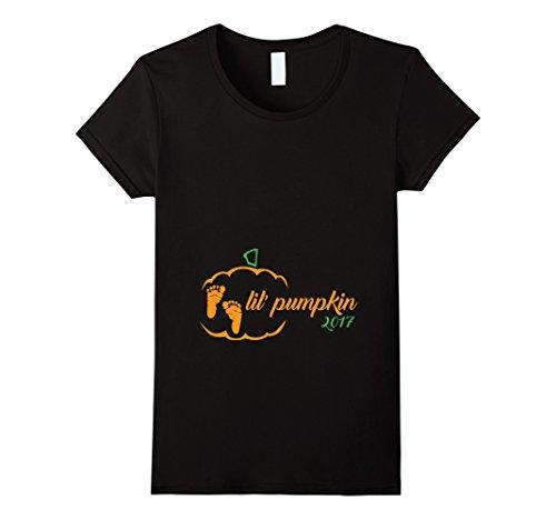 Womens Lil Pumpkin 2017 Shirt Cute Halloween Pregnancy Announcement Large Black (Halloween Pregnancy Announcements)