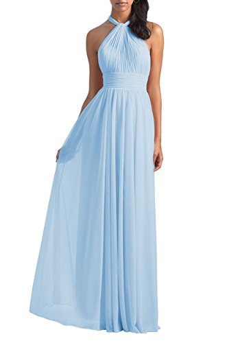 Women's Halter Pleated Chiffon Formal Party Gown Long Backless Maxi Dress Size 6 Ice Blue
