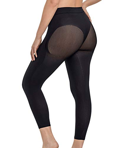 Leonisa Max Power Extra-High-Waisted Firm Compression Shapewear Leggings Activewear Pants for Women Black