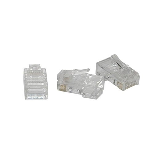 C2G 01949 RJ45 Cat5 8x8 Modular Plug for Flat Stranded Cable Multipack (100 Pack), Clear