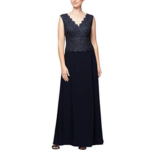 - Alex Evenings Women's Long Sleeveless A-Line Dress (Petite and Regular), Navy, 16