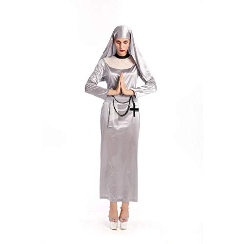 Yunfeng Witch Costume Halloween Zombie Cosplay Horror with Blood Nuns Priest Missionary Costume -