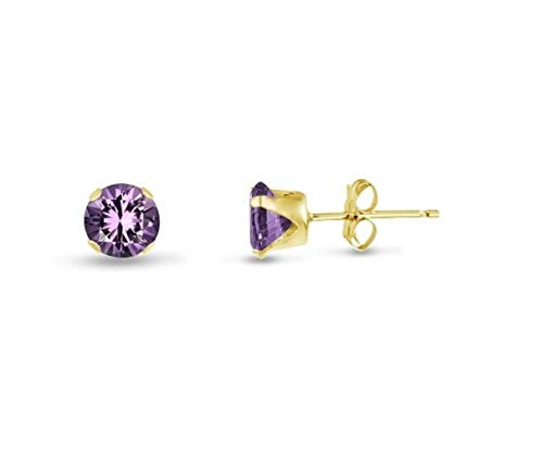 - honjejewelry Stud Earrings Genuine Purple Amethyst Gold Plated Silver Round February for Women 1 Pairs (4mm - Medium)