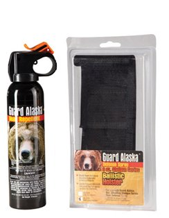 "Guard Alaska Bear Spray with Nylon Holster 1 Size: 9 Ounce Supersize. Range: Approximately 15-20 feet. Dimensions: 8 3/4"" x 2"""