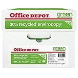 Office Depot EnviroCopy 30 Paper, 8 1/2in x 11in, 20 Lb, 30% Recycled, FSC Certified, 500 Sheets per Ream, Case of 10 Reams, 651001OD