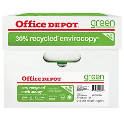 Office Depot EnviroCopy 30 Paper, 8 1/2in x 11in, 20 Lb, 30% Recycled, FSC Certified, 500 Sheets per Ream, Case of 10 Reams, 651001OD (Office Depot Copy Paper)