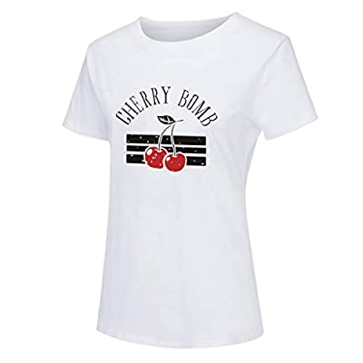 Eoeth Cherry Bomb Letter Print Blouse Fashion Plus Size Womens O-Neck Short Sleeve T-Shirts Casual Top Pullover Shirts at  Women's Clothing store