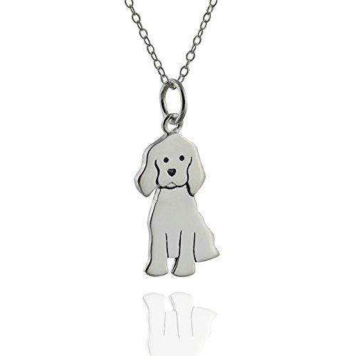 Sterling Silver Labrador Retriever - Sterling Silver Labrador Retriever Dog Pendant Necklace, 18