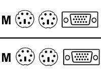 - Avocent KVM Cable 15ft 2 x mini-DIN PS-2, 1 x D-Sub HD-15, 2 x mini-DIN PS-2, 1 x D-Sub HD-15 Cable