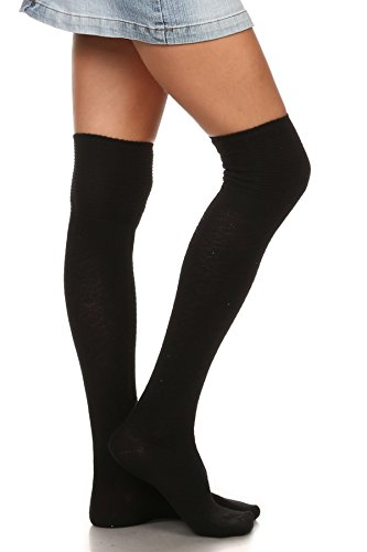 ICONOFLASH Womens Ribbed Over The Knee Boot Sock with Graphic Detail, Size 9-11 Black
