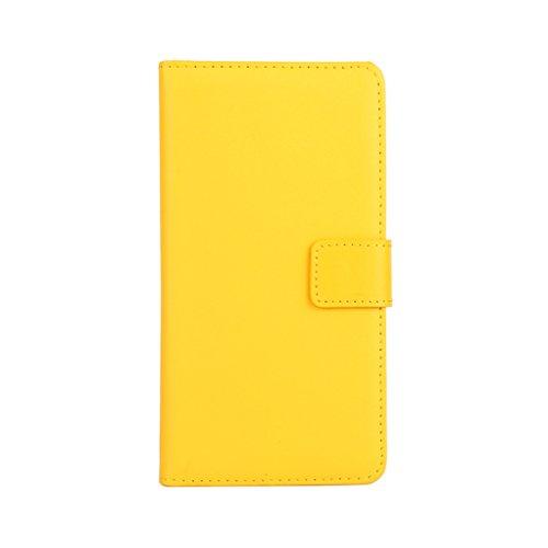 Trumpshop Smartphone Carcasa Funda Protección para HTC Desire 816 + Rojo + Ultra Delgada Cuero Genuino Caja Protector con Función de Soporte Ranuras para Tarjetas Crédito Choque Absorción Amarillo