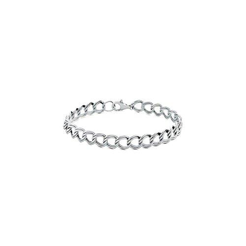 Double Link Silver Bracelet - Orostar Sterling Silver 925 Italian 4mm Double Link Charm Bracelet, Sizes 5